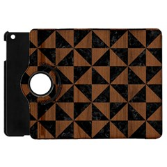 Triangle1 Black Marble & Brown Wood Apple Ipad Mini Flip 360 Case by trendistuff