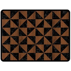 Triangle1 Black Marble & Brown Wood Double Sided Fleece Blanket (large) by trendistuff
