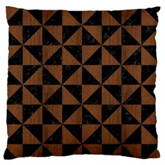Triangle1 Black Marble & Brown Wood Standard Flano Cushion Case (one Side) by trendistuff