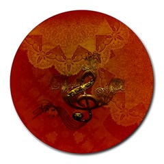 Golden Clef On Vintage Background Round Mousepads by FantasyWorld7