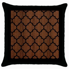 Tile1 Black Marble & Brown Wood (r) Throw Pillow Case (black)
