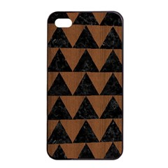 Triangle2 Black Marble & Brown Wood Apple Iphone 4/4s Seamless Case (black) by trendistuff