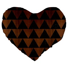 Triangle2 Black Marble & Brown Wood Large 19  Premium Heart Shape Cushion by trendistuff