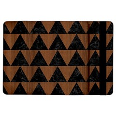 Triangle2 Black Marble & Brown Wood Apple Ipad Air 2 Flip Case by trendistuff