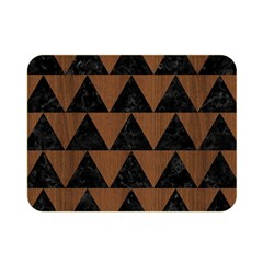 Triangle2 Black Marble & Brown Wood Double Sided Flano Blanket (mini) by trendistuff