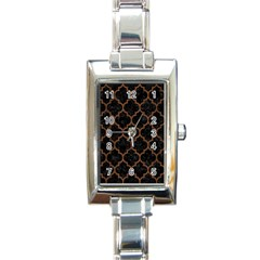 Tile1 Black Marble & Brown Wood Rectangle Italian Charm Watch by trendistuff