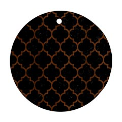 Tile1 Black Marble & Brown Wood Ornament (round)
