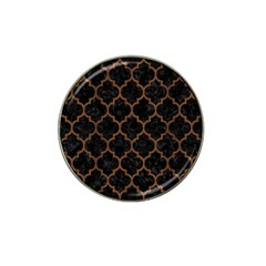 Tile1 Black Marble & Brown Wood Hat Clip Ball Marker (4 Pack) by trendistuff