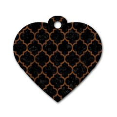 Tile1 Black Marble & Brown Wood Dog Tag Heart (one Side) by trendistuff