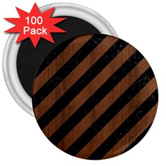 Stripes3 Black Marble & Brown Wood 3  Magnet (100 Pack) by trendistuff