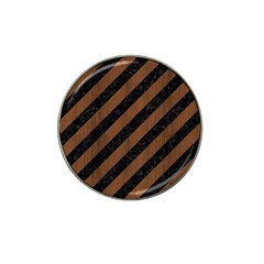 Stripes3 Black Marble & Brown Wood Hat Clip Ball Marker (4 Pack) by trendistuff