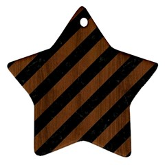 Stripes3 Black Marble & Brown Wood Star Ornament (two Sides) by trendistuff