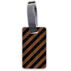 Stripes3 Black Marble & Brown Wood Luggage Tag (two Sides) by trendistuff