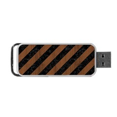 Stripes3 Black Marble & Brown Wood Portable Usb Flash (two Sides) by trendistuff