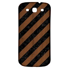 Stripes3 Black Marble & Brown Wood Samsung Galaxy S3 S Iii Classic Hardshell Back Case by trendistuff