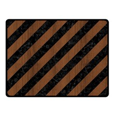 Stripes3 Black Marble & Brown Wood Double Sided Fleece Blanket (small) by trendistuff