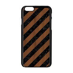 Stripes3 Black Marble & Brown Wood Apple Iphone 6/6s Black Enamel Case