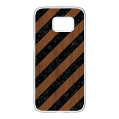 Stripes3 Black Marble & Brown Wood Samsung Galaxy S7 Edge White Seamless Case by trendistuff