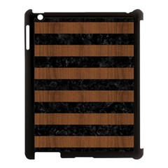 Stripes2 Black Marble & Brown Wood Apple Ipad 3/4 Case (black) by trendistuff
