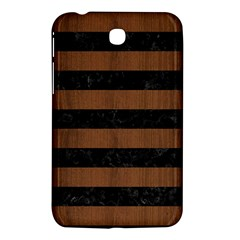 Stripes2 Black Marble & Brown Wood Samsung Galaxy Tab 3 (7 ) P3200 Hardshell Case  by trendistuff