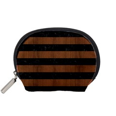 Stripes2 Black Marble & Brown Wood Accessory Pouch (small) by trendistuff