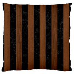 Stripes1 Black Marble & Brown Wood Standard Flano Cushion Case (one Side) by trendistuff