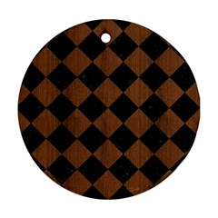 Square2 Black Marble & Brown Wood Round Ornament (two Sides) by trendistuff