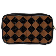 Square2 Black Marble & Brown Wood Toiletries Bag (two Sides) by trendistuff