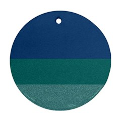 Blue Gradient Glitter Texture Pattern  Ornament (round)