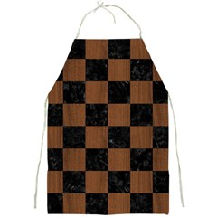 Square1 Black Marble & Brown Wood Full Print Apron by trendistuff