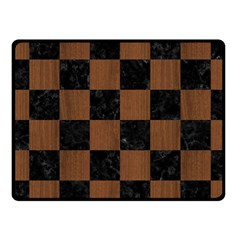 Square1 Black Marble & Brown Wood Fleece Blanket (small) by trendistuff