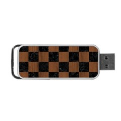 Square1 Black Marble & Brown Wood Portable Usb Flash (two Sides) by trendistuff