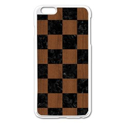 Square1 Black Marble & Brown Wood Apple Iphone 6 Plus/6s Plus Enamel White Case by trendistuff