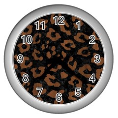 Skin5 Black Marble & Brown Wood (r) Wall Clock (silver) by trendistuff