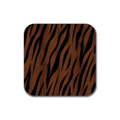 Skin3 Black Marble & Brown Wood (r) Rubber Square Coaster (4 Pack) by trendistuff