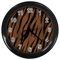 Skin3 Black Marble & Brown Wood (r) Wall Clock (black) by trendistuff