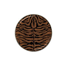Skin2 Black Marble & Brown Wood (r) Hat Clip Ball Marker by trendistuff