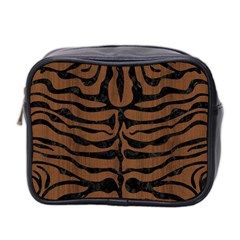 Skin2 Black Marble & Brown Wood (r) Mini Toiletries Bag (two Sides) by trendistuff
