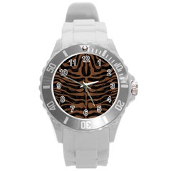Skin2 Black Marble & Brown Wood Round Plastic Sport Watch (l) by trendistuff
