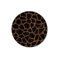 Skin1 Black Marble & Brown Wood (r) Magnet 3  (round) by trendistuff