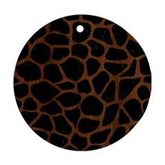 Skin1 Black Marble & Brown Wood (r) Round Ornament (two Sides) by trendistuff