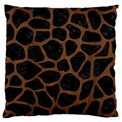 Skin1 Black Marble & Brown Wood (r) Large Cushion Case (two Sides) by trendistuff