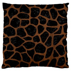 Skin1 Black Marble & Brown Wood (r) Large Flano Cushion Case (two Sides) by trendistuff