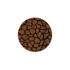 Skin1 Black Marble & Brown Wood Golf Ball Marker by trendistuff