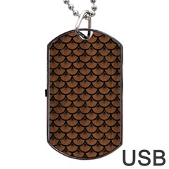 Scales3 Black Marble & Brown Wood (r) Dog Tag Usb Flash (two Sides) by trendistuff