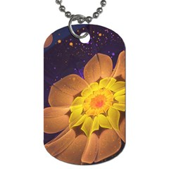 Beautiful Violet & Peach Primrose Fractal Flowers Dog Tag (one Side) by jayaprime