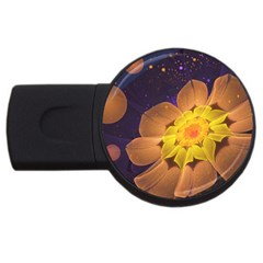 Beautiful Violet & Peach Primrose Fractal Flowers Usb Flash Drive Round (2 Gb) by jayaprime
