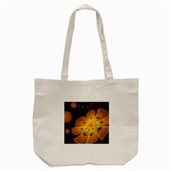 Beautiful Violet & Peach Primrose Fractal Flowers Tote Bag (cream) by jayaprime