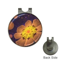 Beautiful Violet & Peach Primrose Fractal Flowers Hat Clips With Golf Markers