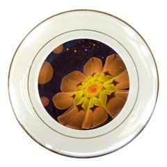 Beautiful Violet & Peach Primrose Fractal Flowers Porcelain Plates by jayaprime